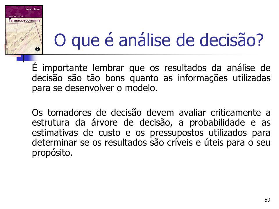 59 O que é análise de decisão? É importante lembrar que os resultados da análise de decisão são tão bons quanto as informações utilizadas para se dese