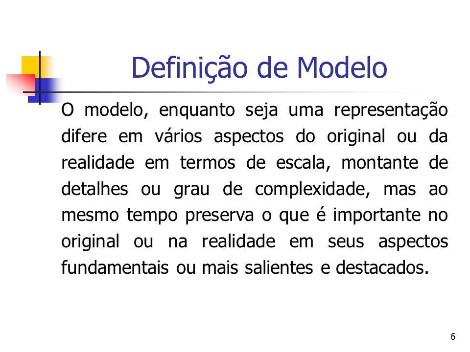 6 Definição de Modelo O modelo, enquanto seja uma representação difere em vários aspectos do original ou da realidade em termos de escala, montante de