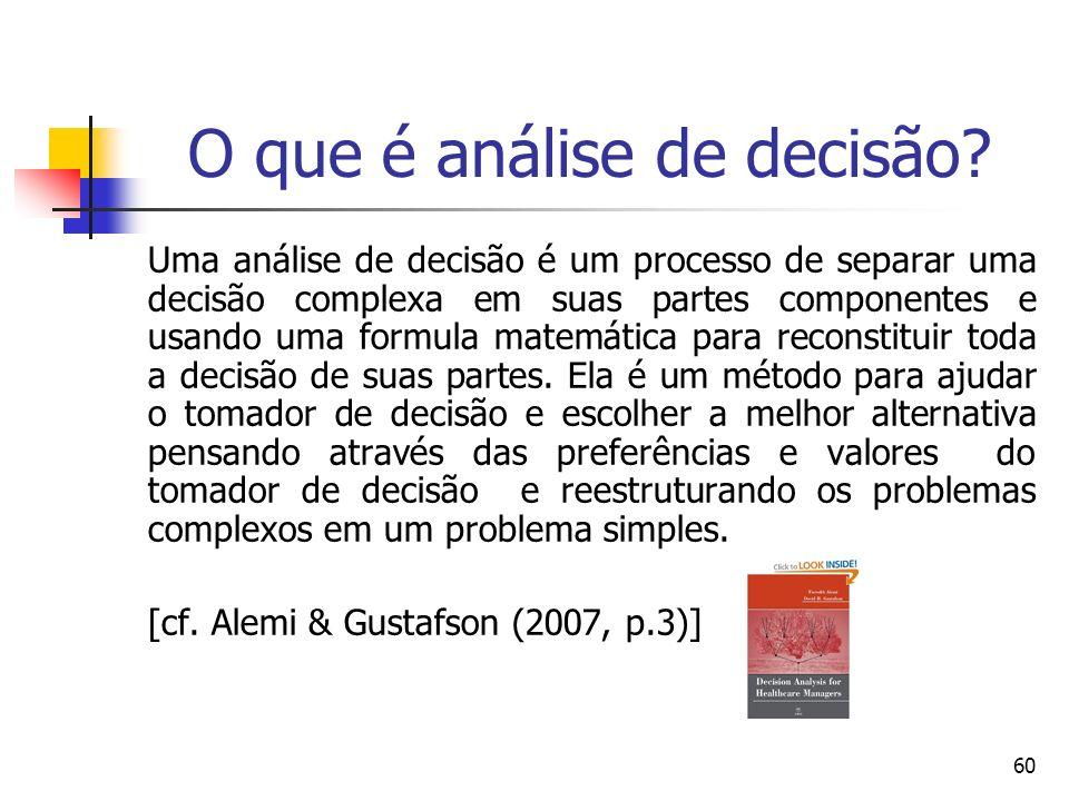 60 O que é análise de decisão? Uma análise de decisão é um processo de separar uma decisão complexa em suas partes componentes e usando uma formula ma