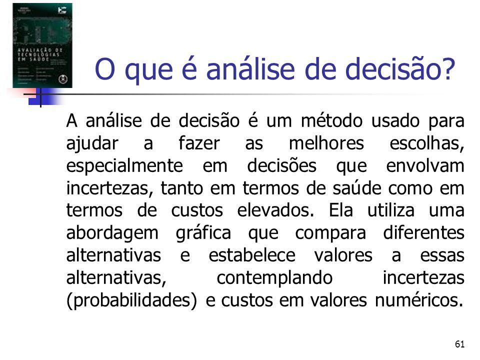 61 O que é análise de decisão? A análise de decisão é um método usado para ajudar a fazer as melhores escolhas, especialmente em decisões que envolvam