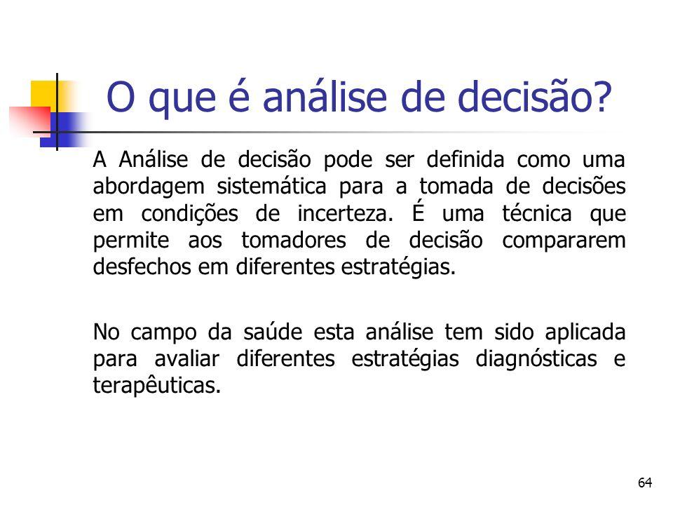 64 A Análise de decisão pode ser definida como uma abordagem sistemática para a tomada de decisões em condições de incerteza. É uma técnica que permit