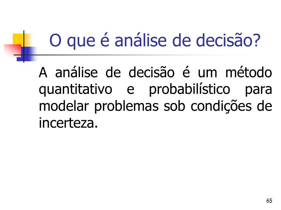 65 O que é análise de decisão? A análise de decisão é um método quantitativo e probabilístico para modelar problemas sob condições de incerteza.