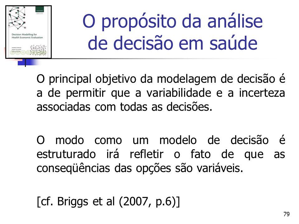 79 O principal objetivo da modelagem de decisão é a de permitir que a variabilidade e a incerteza associadas com todas as decisões. O modo como um mod
