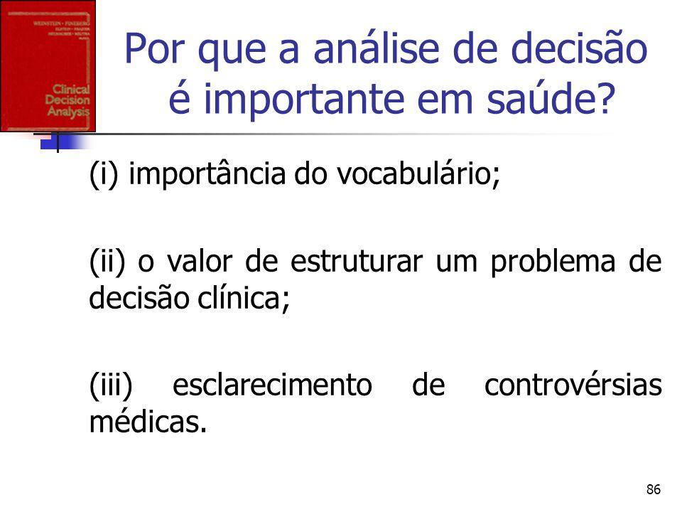 86 Por que a análise de decisão é importante em saúde? (i) importância do vocabulário; (ii) o valor de estruturar um problema de decisão clínica; (iii