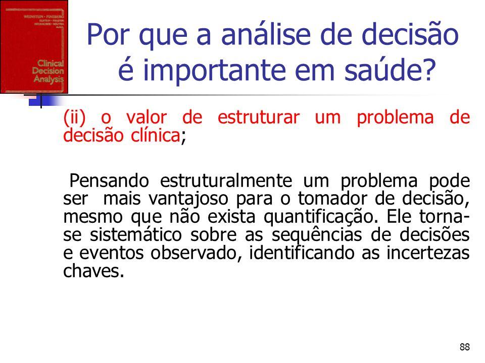 88 Por que a análise de decisão é importante em saúde? (ii) o valor de estruturar um problema de decisão clínica; Pensando estruturalmente um problema