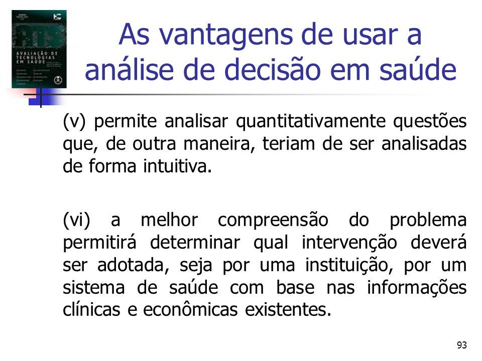93 As vantagens de usar a análise de decisão em saúde (v) permite analisar quantitativamente questões que, de outra maneira, teriam de ser analisadas