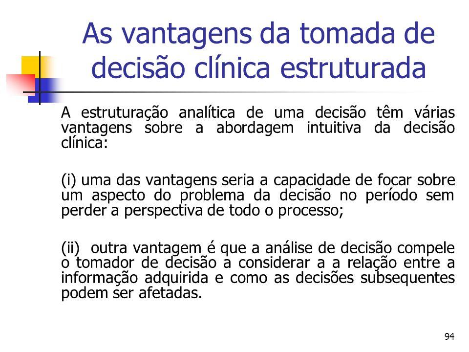 94 As vantagens da tomada de decisão clínica estruturada A estruturação analítica de uma decisão têm várias vantagens sobre a abordagem intuitiva da d
