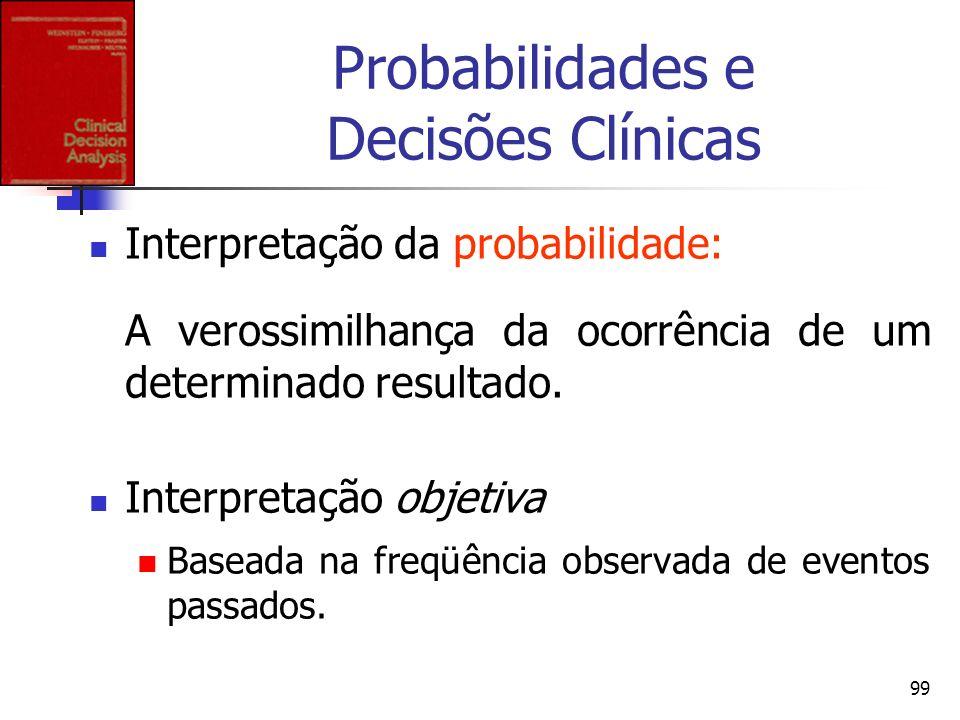 99 Probabilidades e Decisões Clínicas Interpretação da probabilidade: A verossimilhança da ocorrência de um determinado resultado. Interpretação objet