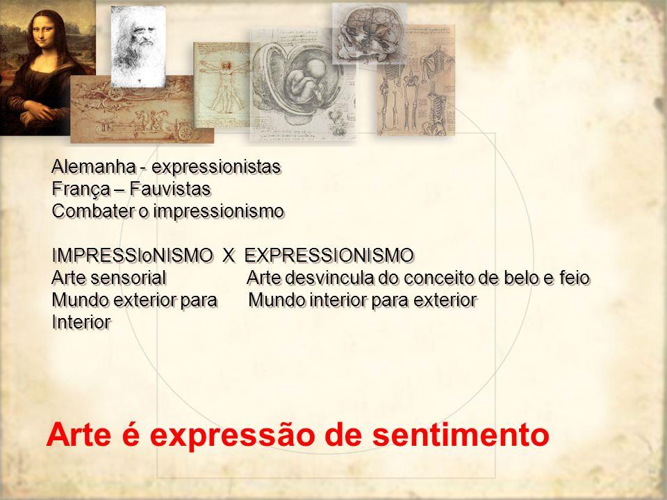 Alemanha - expressionistas França – Fauvistas Combater o impressionismo IMPRESSIoNISMO X EXPRESSIONISMO Arte sensorial Arte desvincula do conceito de