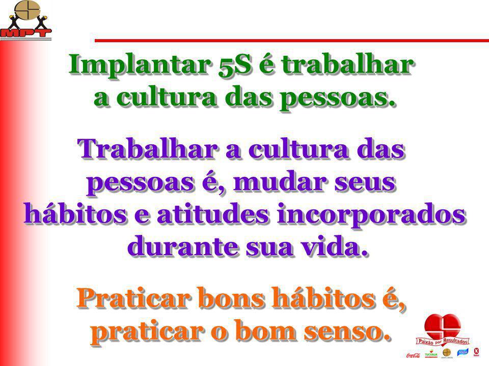 Implantar 5S é trabalhar a cultura das pessoas. Implantar 5S é trabalhar a cultura das pessoas. Trabalhar a cultura das pessoas é, mudar seus hábitos