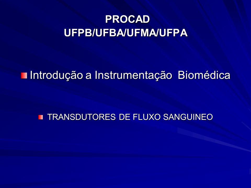 PROCAD UFPB/UFBA/UFMA/UFPA PROCAD UFPB/UFBA/UFMA/UFPA Introdução a Instrumentação Biomédica TRANSDUTORES DE FLUXO SANGUINEO