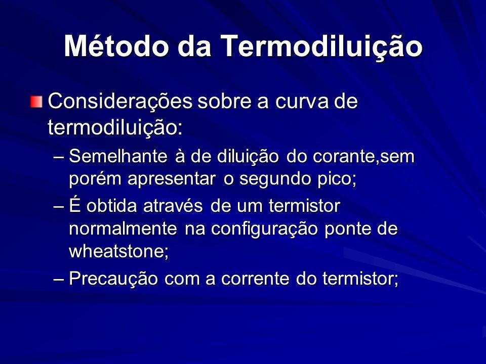 Método da Termodiluição Considerações sobre a curva de termodiluição: –Semelhante à de diluição do corante,sem porém apresentar o segundo pico; –É obt