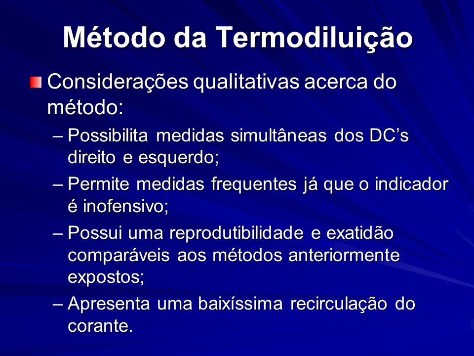 Método da Termodiluição Considerações qualitativas acerca do método: –Possibilita medidas simultâneas dos DCs direito e esquerdo; –Permite medidas fre