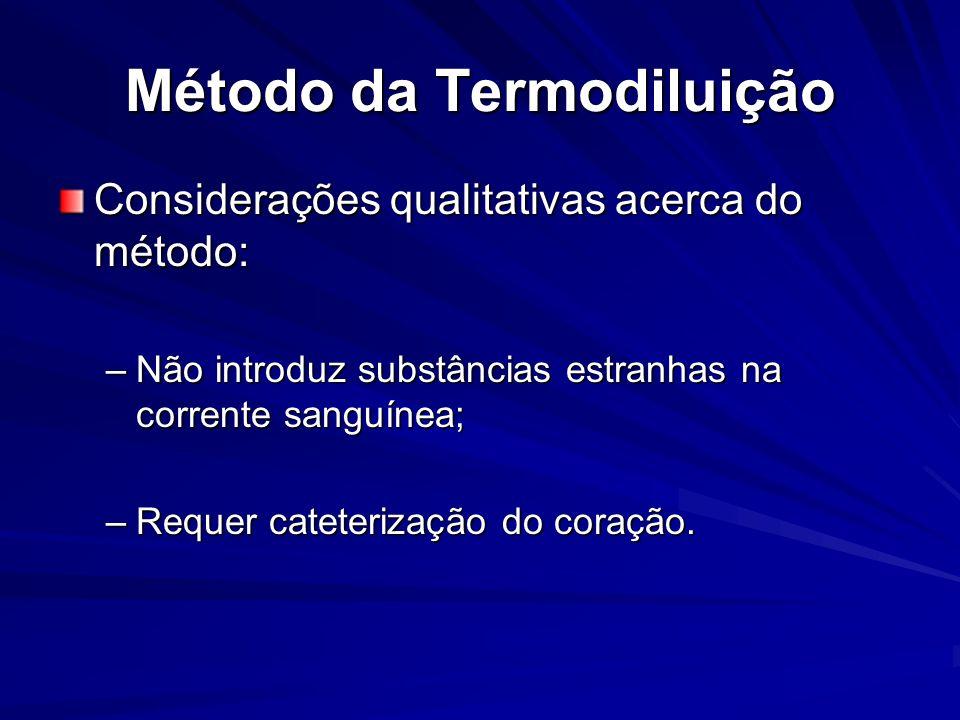 Método da Termodiluição Considerações qualitativas acerca do método: –Não introduz substâncias estranhas na corrente sanguínea; –Requer cateterização