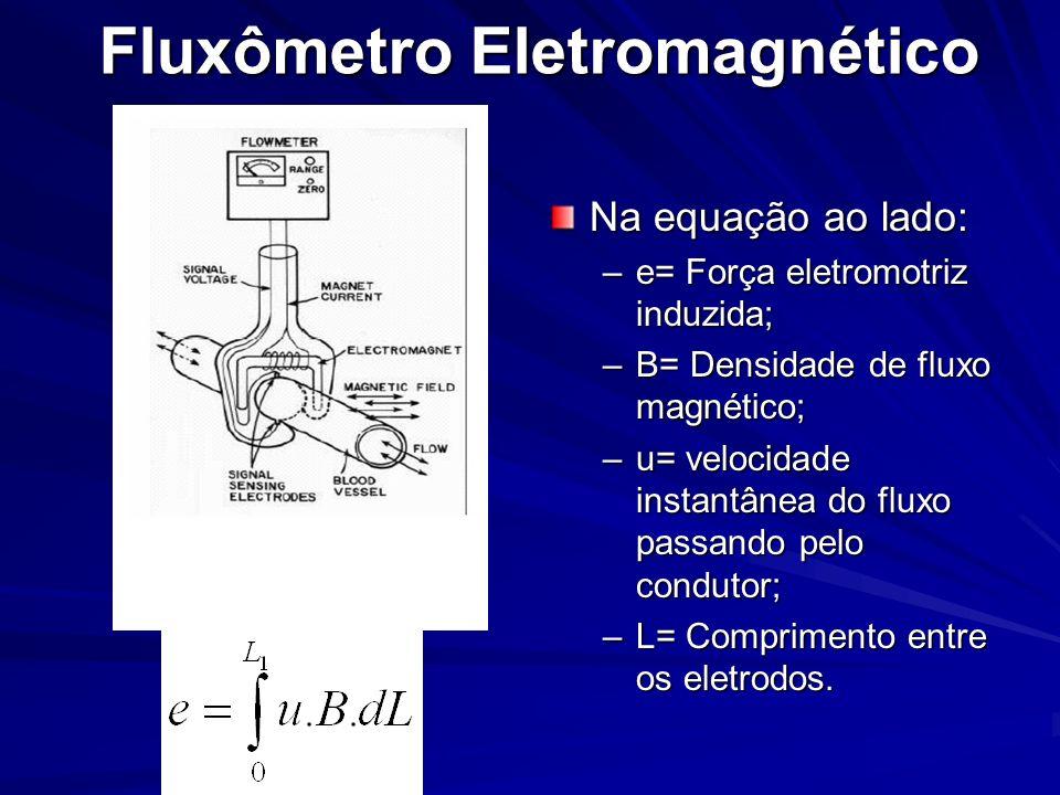 Fluxômetro Eletromagnético Na equação ao lado: –e= Força eletromotriz induzida; –B= Densidade de fluxo magnético; –u= velocidade instantânea do fluxo