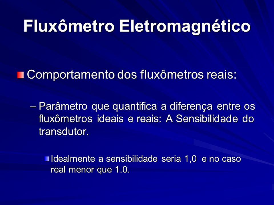 Fluxômetro Eletromagnético Comportamento dos fluxômetros reais: –Parâmetro que quantifica a diferença entre os fluxômetros ideais e reais: A Sensibili