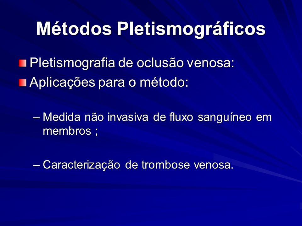 Métodos Pletismográficos Pletismografia de oclusão venosa: Aplicações para o método: –Medida não invasiva de fluxo sanguíneo em membros ; –Caracteriza