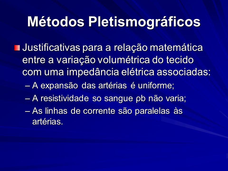 Métodos Pletismográficos Justificativas para a relação matemática entre a variação volumétrica do tecido com uma impedância elétrica associadas: –A ex