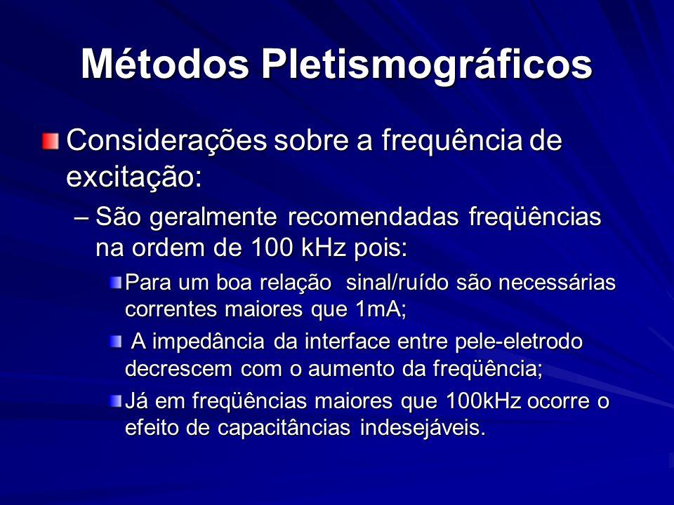 Métodos Pletismográficos Considerações sobre a frequência de excitação: –São geralmente recomendadas freqüências na ordem de 100 kHz pois: Para um boa