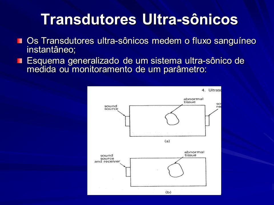 Transdutores Ultra-sônicos Os Transdutores ultra-sônicos medem o fluxo sanguíneo instantâneo; Esquema generalizado de um sistema ultra-sônico de medid