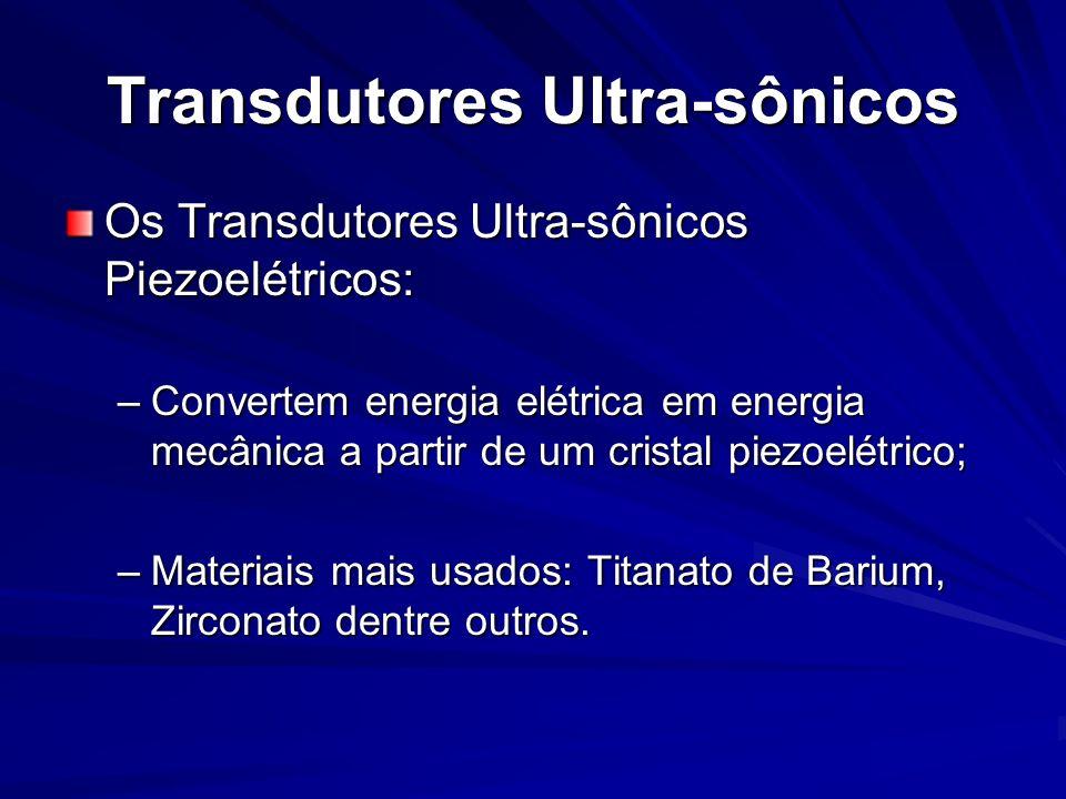 Transdutores Ultra-sônicos Os Transdutores Ultra-sônicos Piezoelétricos: –Convertem energia elétrica em energia mecânica a partir de um cristal piezoe