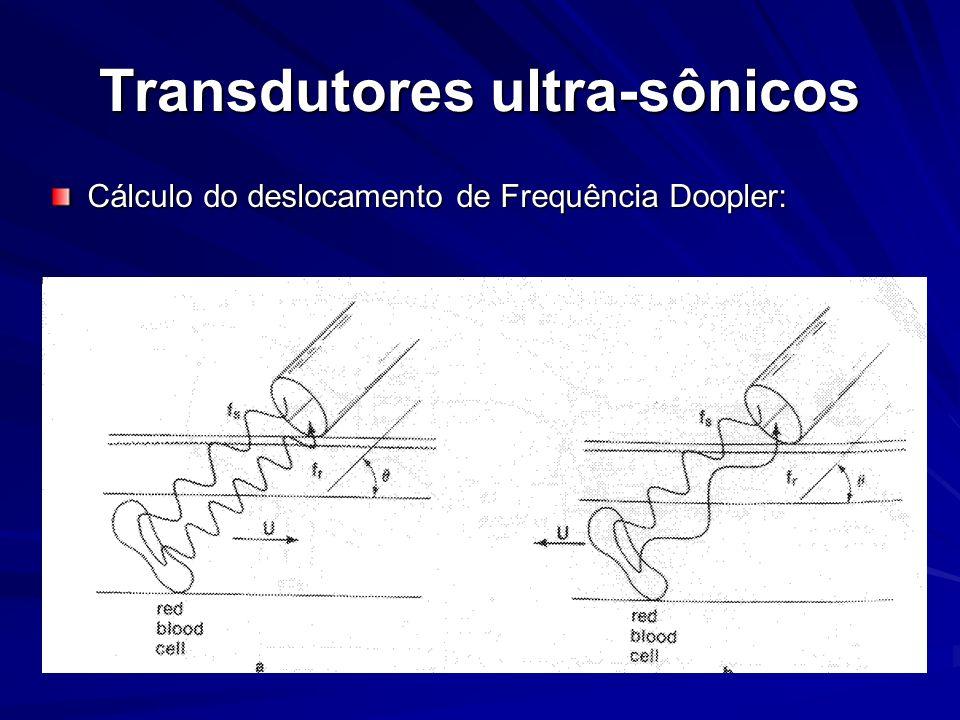 Transdutores ultra-sônicos Cálculo do deslocamento de Frequência Doopler: