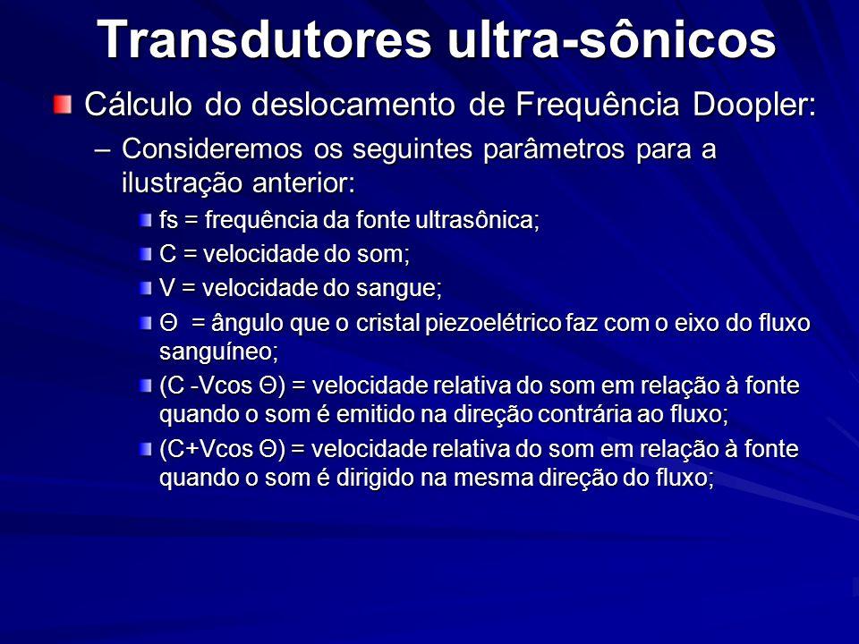 Transdutores ultra-sônicos Cálculo do deslocamento de Frequência Doopler: –Consideremos os seguintes parâmetros para a ilustração anterior: fs = frequ
