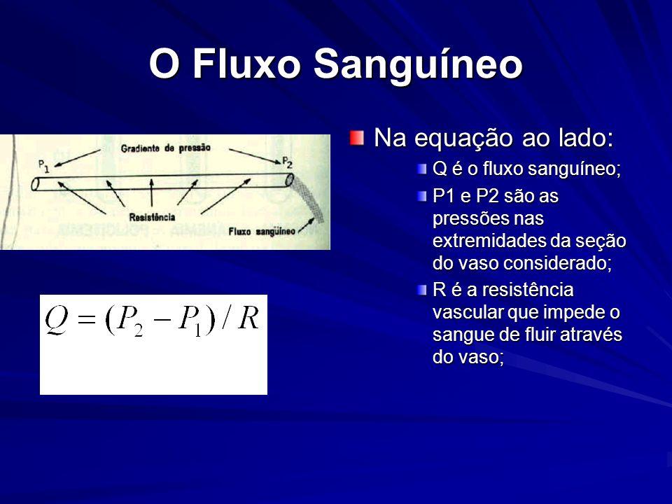 O Fluxo Sanguíneo Na equação ao lado: Q é o fluxo sanguíneo; P1 e P2 são as pressões nas extremidades da seção do vaso considerado; R é a resistência