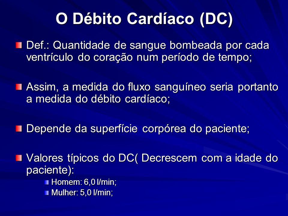 O Débito Cardíaco (DC) Def.: Quantidade de sangue bombeada por cada ventrículo do coração num período de tempo; Assim, a medida do fluxo sanguíneo ser