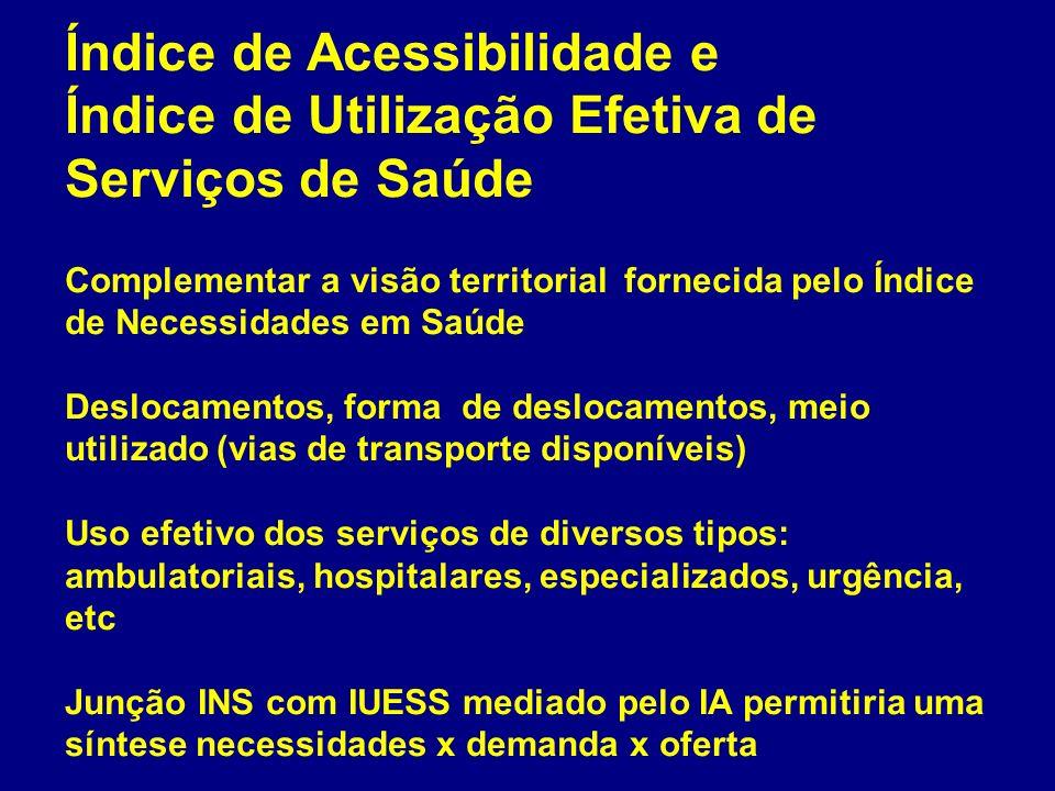 Índice de Acessibilidade e Índice de Utilização Efetiva de Serviços de Saúde Complementar a visão territorial fornecida pelo Índice de Necessidades em