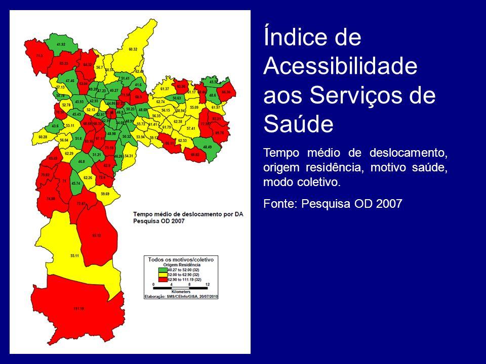 Índice de Acessibilidade aos Serviços de Saúde Tempo médio de deslocamento, origem residência, motivo saúde, modo coletivo. Fonte: Pesquisa OD 2007 Gr