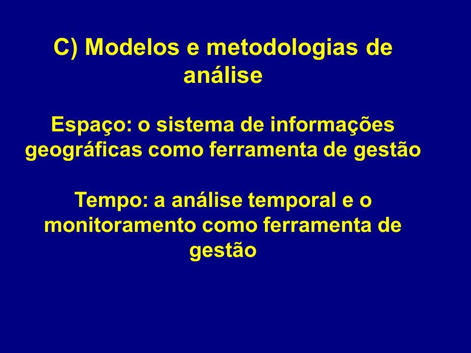 C) Modelos e metodologias de análise Espaço: o sistema de informações geográficas como ferramenta de gestão Tempo: a análise temporal e o monitorament