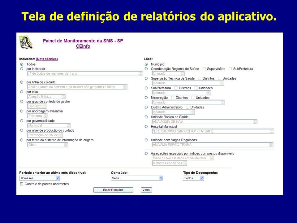 Tela de definição de relatórios do aplicativo.
