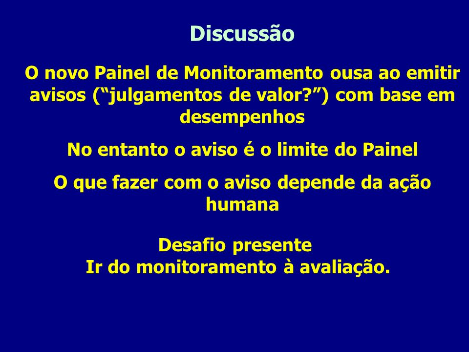 Discussão O novo Painel de Monitoramento ousa ao emitir avisos (julgamentos de valor?) com base em desempenhos No entanto o aviso é o limite do Painel