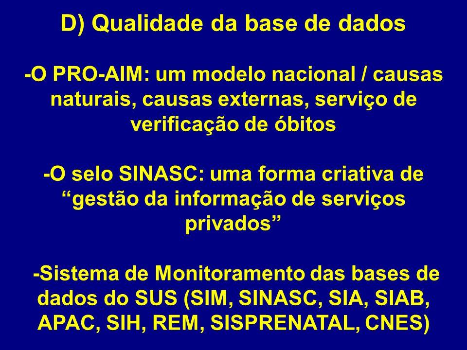 D) Qualidade da base de dados -O PRO-AIM: um modelo nacional / causas naturais, causas externas, serviço de verificação de óbitos -O selo SINASC: uma