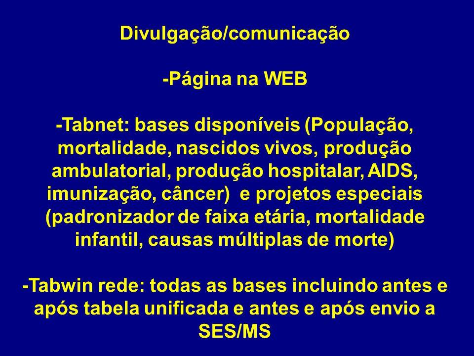 Divulgação/comunicação -Página na WEB -Tabnet: bases disponíveis (População, mortalidade, nascidos vivos, produção ambulatorial, produção hospitalar,