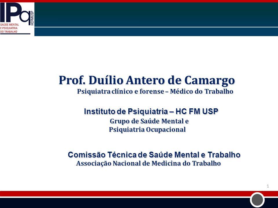 Prof. Duílio Antero de Camargo Psiquiatra clínico e forense – Médico do Trabalho Psiquiatra clínico e forense – Médico do Trabalho Instituto de Psiqui
