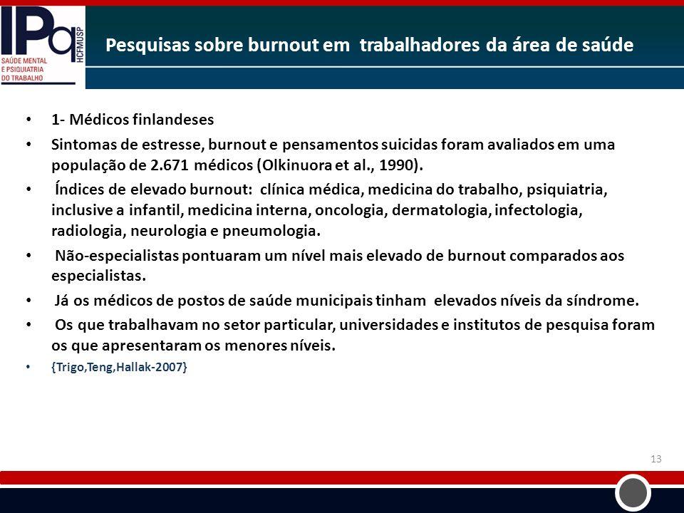 Pesquisas sobre burnout em trabalhadores da área de saúde 1- Médicos finlandeses Sintomas de estresse, burnout e pensamentos suicidas foram avaliados
