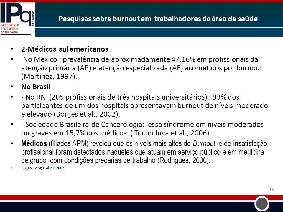 Pesquisas sobre burnout em trabalhadores da área de saúde 2-Médicos sul americanos No Mexico : prevalência de aproximadamente 47,16% em profissionais