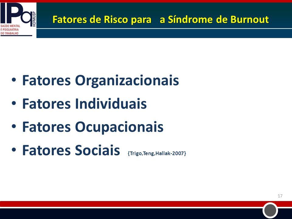 Fatores de Risco para a Síndrome de Burnout Fatores Organizacionais Fatores Individuais Fatores Ocupacionais Fatores Sociais {Trigo,Teng,Hallak-2007}