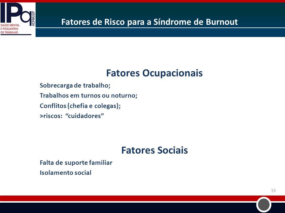 Fatores de Risco para a Síndrome de Burnout Fatores Ocupacionais Sobrecarga de trabalho; Trabalhos em turnos ou noturno; Conflitos (chefia e colegas);