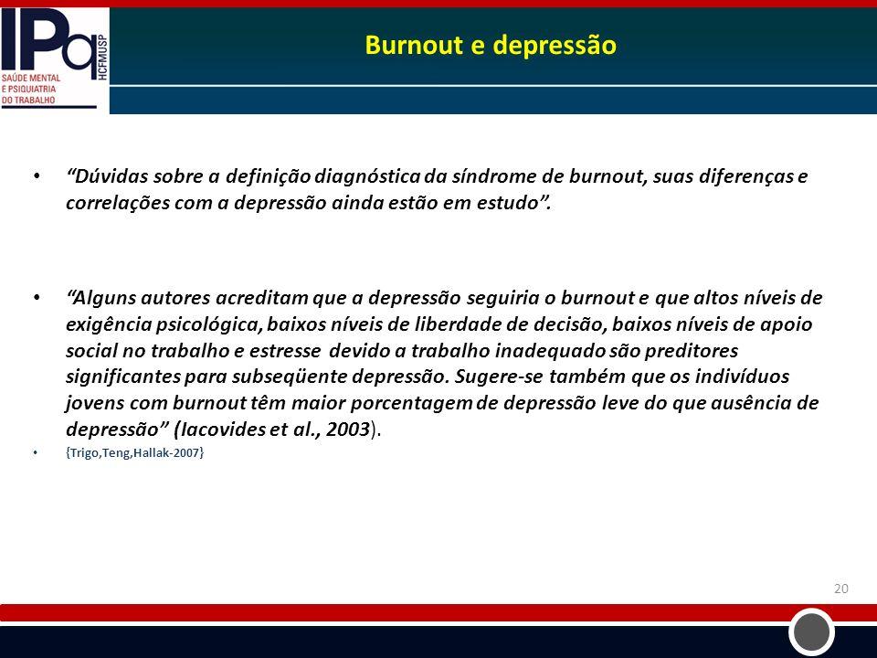 Burnout e depressão Dúvidas sobre a definição diagnóstica da síndrome de burnout, suas diferenças e correlações com a depressão ainda estão em estudo.