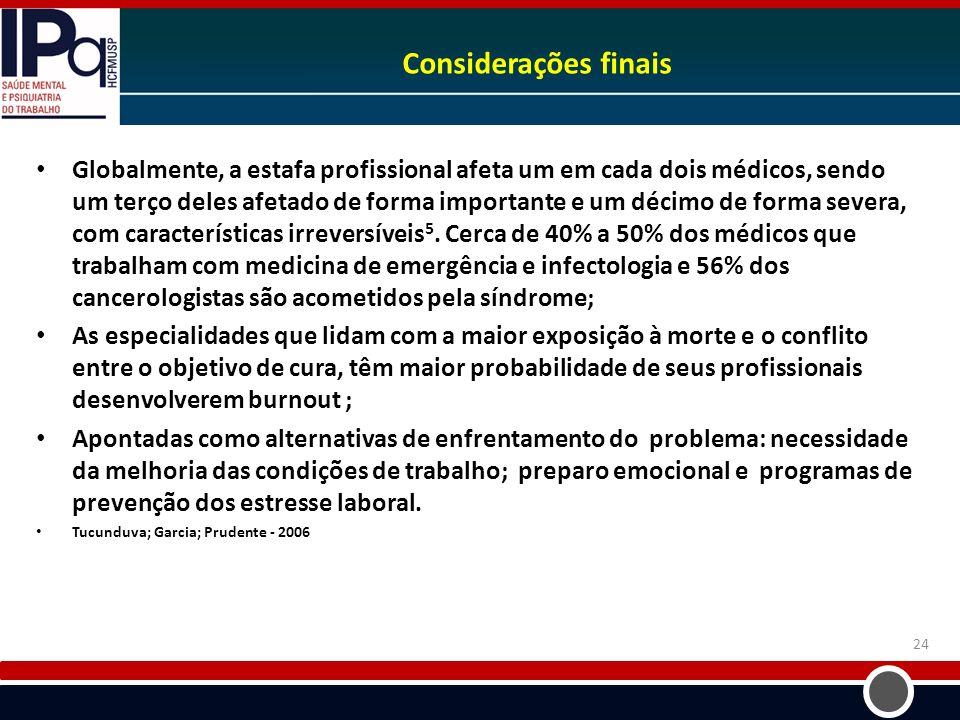 Considerações finais Globalmente, a estafa profissional afeta um em cada dois médicos, sendo um terço deles afetado de forma importante e um décimo de