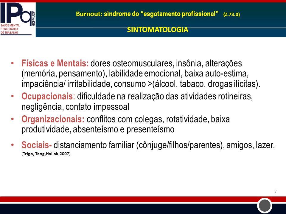 7 Burnout: síndrome do esgotamento profissional (Z.73.0) SINTOMATOLOGIA Físicas e Mentais: dores osteomusculares, insônia, alterações (memória, pensam