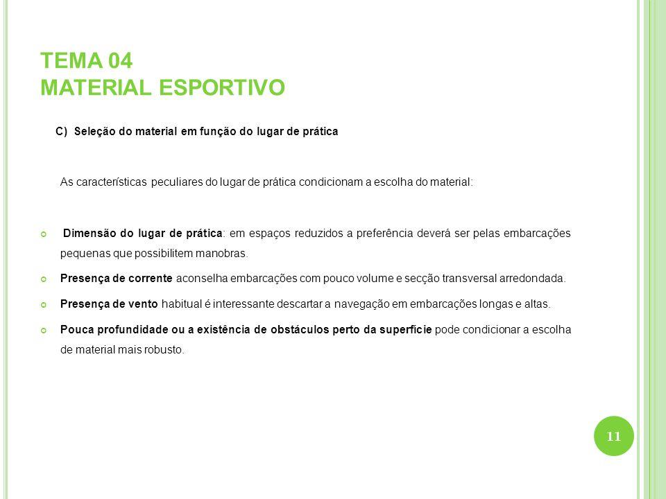 TEMA 04 MATERIAL ESPORTIVO C) Seleção do material em função do lugar de prática As características peculiares do lugar de prática condicionam a escolh