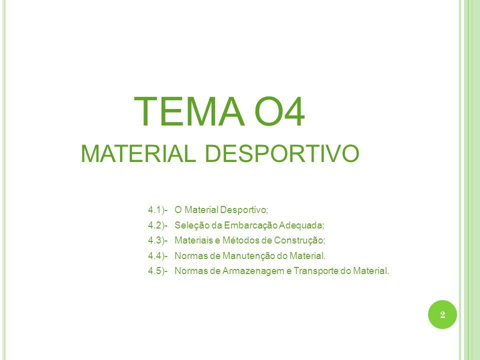 TEMA O4 MATERIAL DESPORTIVO 4.1)- O Material Desportivo; 4.2)- Seleção da Embarcação Adequada; 4.3)- Materiais e Métodos de Construção; 4.4)- Normas d