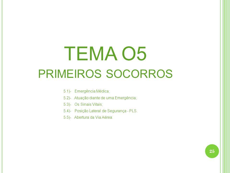 TEMA O5 PRIMEIROS SOCORROS 5.1)- Emergência Médica; 5.2)- Atuação diante de uma Emergência; 5.3)- Os Sinais Vitais; 5.4)- Posição Lateral de Segurança