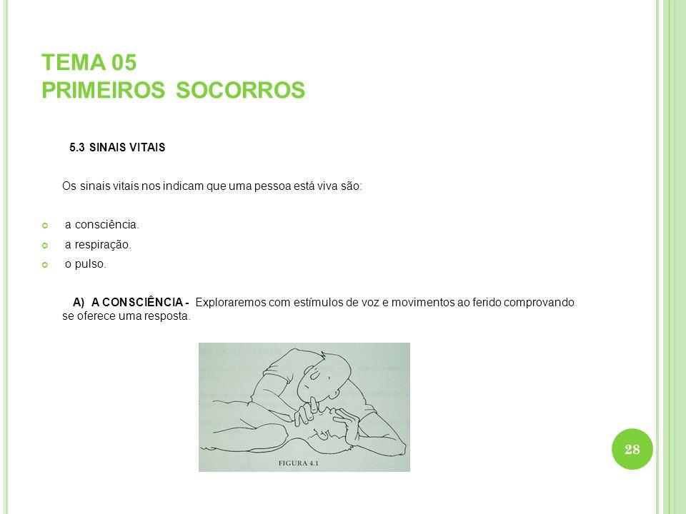 TEMA 05 PRIMEIROS SOCORROS 5.3 SINAIS VITAIS Os sinais vitais nos indicam que uma pessoa está viva são: a consciência. a respiração. o pulso. A) A CON