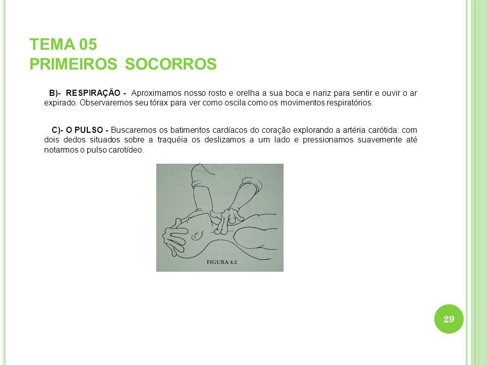 TEMA 05 PRIMEIROS SOCORROS B)- RESPIRAÇÃO - Aproximamos nosso rosto e orelha a sua boca e nariz para sentir e ouvir o ar expirado. Observaremos seu tó