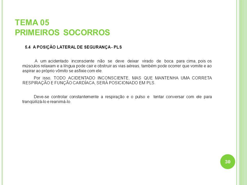 TEMA 05 PRIMEIROS SOCORROS 5.4 A POSIÇÃO LATERAL DE SEGURANÇA - PLS A um acidentado inconsciente não se deve deixar virado de boca para cima, pois os